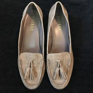 Ralph Lauren tan suede loafers with tassels